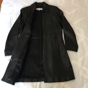 Liz Claiborne Long, Black Leather Jacket - Sz M